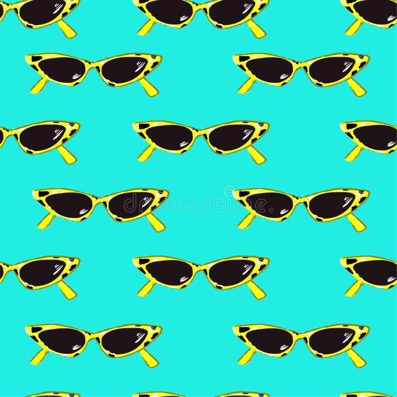 Humor de Popart do teste padrão sem emenda com mão retro os óculos de sol tirados ilustração royalty free