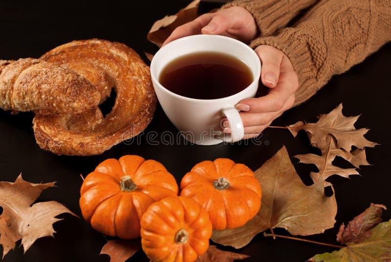 Humor del otoño, té caliente, calabazas y hojas de otoño fotos de archivo
