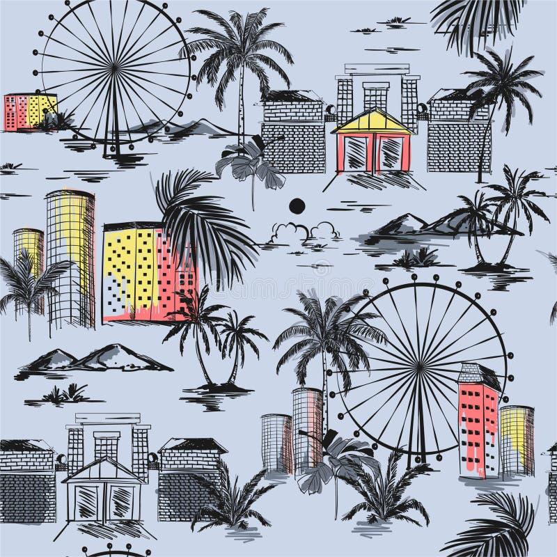 Humor del verano con las palmeras de los ambientes de la playa y modelo inconsútil de la montaña con el ejemplo exhausto del vect ilustración del vector