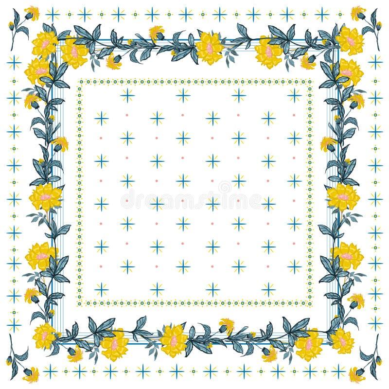 Humor delicado de la bufanda de seda con vector inconsútil floreciente del modelo de la flor amarilla en el diseño del estilo del stock de ilustración