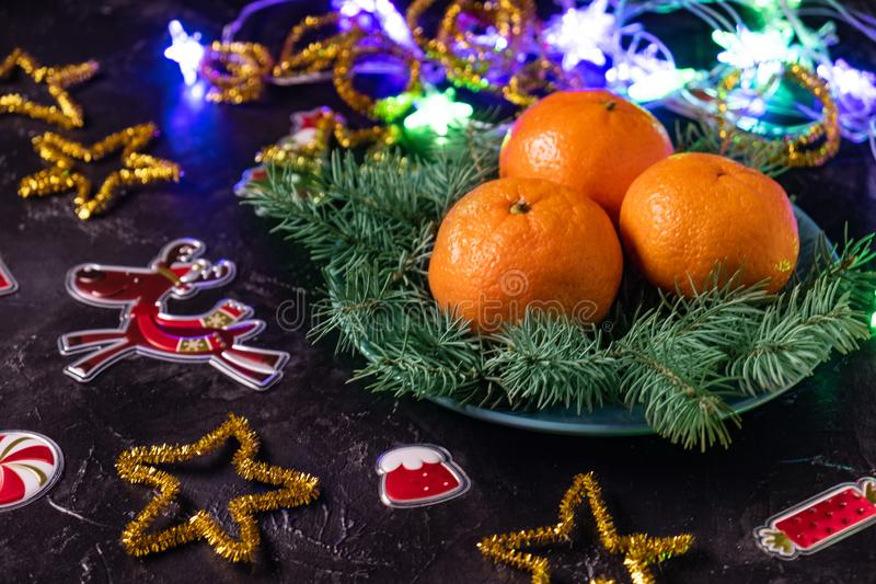 Humor do Natal, cervos, decoração do feriado, ramos do pinho e tangerinas no fundo escuro fotos de stock royalty free