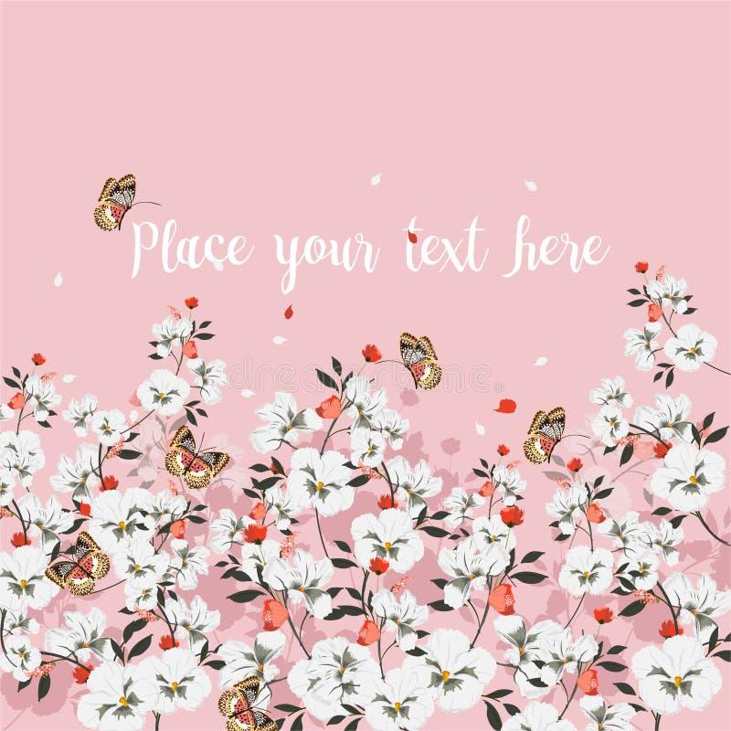 Humor dulce de la tarjeta de felicitación con las flores florecientes con la mariposa Lugar para su texto , Wildflowers, ejemplo  libre illustration