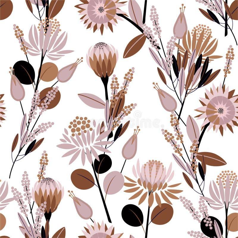 Humor dulce del modelo inconsútil en flores florecientes del protea del vintage del vector en el jardín por completo del diseño d stock de ilustración