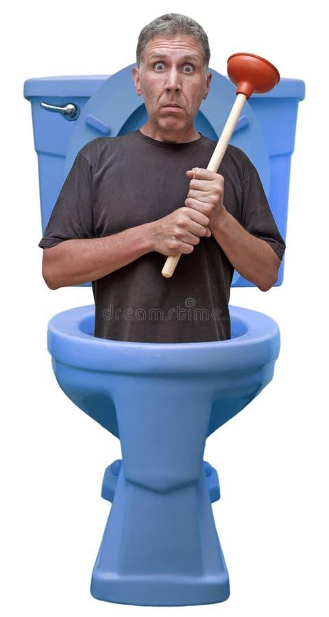 Humor Home do escape da casa do reparo do canalizador do reparo do trabalhador manual foto de stock