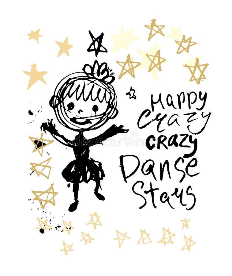 Humor illustration ink blot girl jumping in doodle stars. Happy crazy crazy dance stars. Humor illustration ink blot girl jumping in doodle stars royalty free illustration