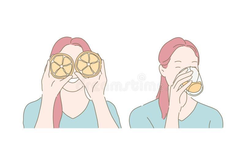 Humor lúdico, hábito alimentar saudável, conceito de sumo de bebida ilustração do vetor