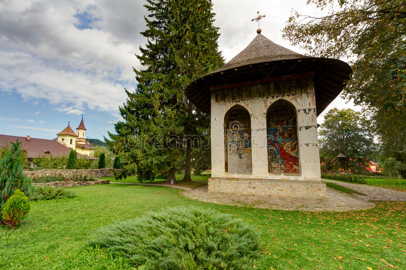 Humor Monastery. Located in Mănăstirea Humorului, about 5 km north of the town of Gura Humorului, Romania. It is a monastery for nuns dedicated to the royalty free stock images