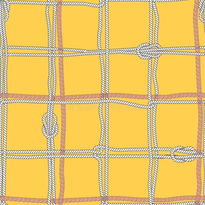 Humor náutico del verano brillante del vector del anf de Coloful inconsútil con las cuerdas del mar blanco y la cadena de plata libre illustration