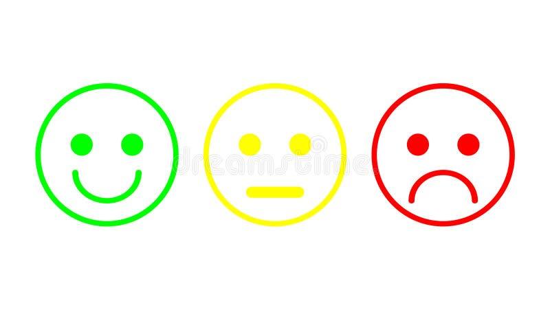 Humor negativo, neutral y positivo, diverso de los smiley del icono rojo, amarillo, verde de los emoticons stock de ilustración