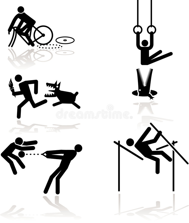 Humor olympic games - 1. Olympic games see through an humor point of view. Set 1. In detail: Cycling, Rings (Gymnastic), Running (Torchbearer), Pole Vault stock illustration