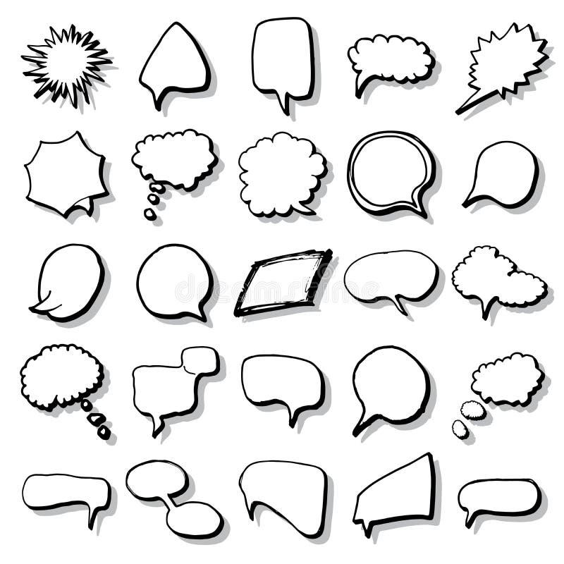 Humorbokanförande bubblar, och ställer solida effekter in för tecknad film Handen dragen stil för popkonst undertecknar vektorill royaltyfri illustrationer