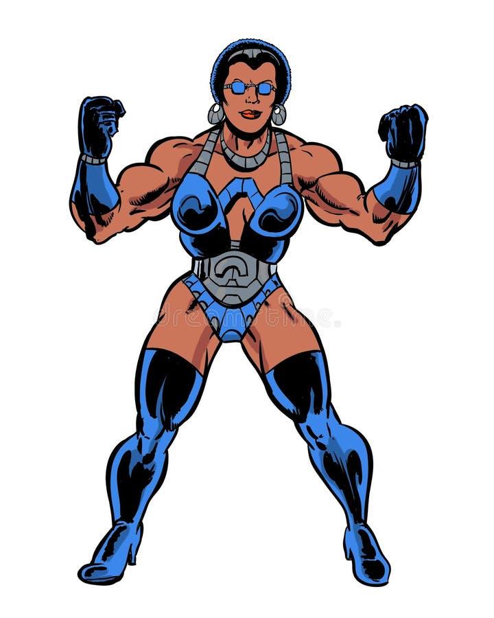 Humorboken illustrerade den muskulösa kvinnan som böjer muskler stock illustrationer