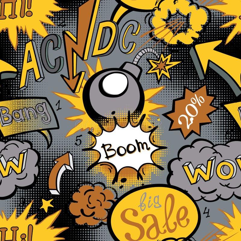 Humorbokexplosionmodell, sömlös vektorillustration royaltyfri illustrationer
