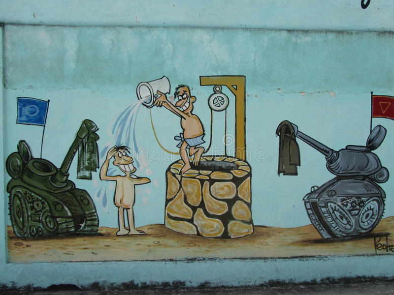 Humoristas against war, Santa Clara, Cuba. On the 40th anniversary of the Cuban humorist publication Melaito a handful of the most acknowledged Cuban satirists vector illustration