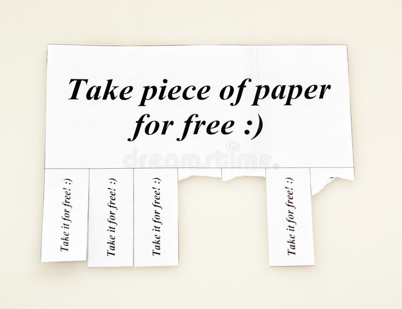 Download Humorous Ad Offers A Piece Of Paper Stock Photo - Image: 29129432