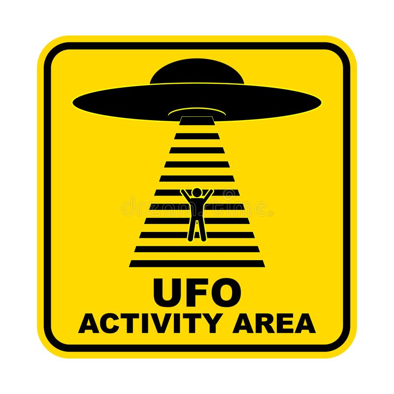 Free Humorous Danger Road Signs For UFO, Aliens Abduction Theme, Vector Illustration. Yellow Road Sign With Text Ufo Activity Area. Royalty Free Stock Images - 127866479