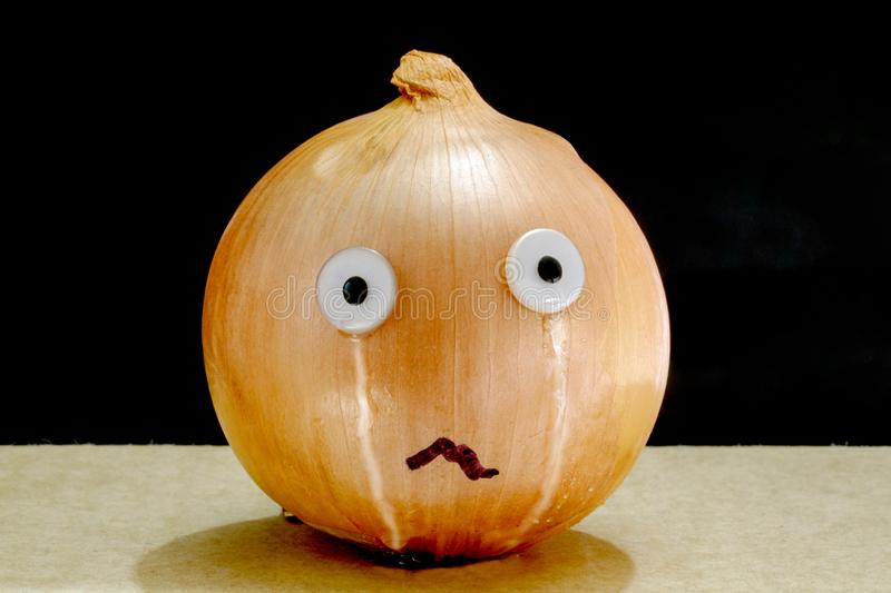 A Humorous Depiction of a Crying Onion stock images