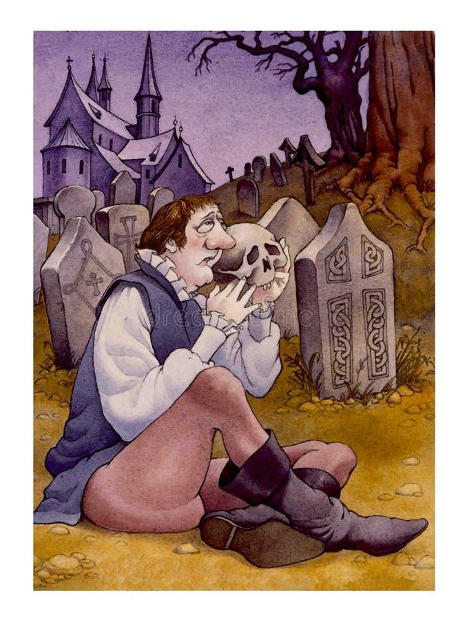Humorous Hamlet stock illustration