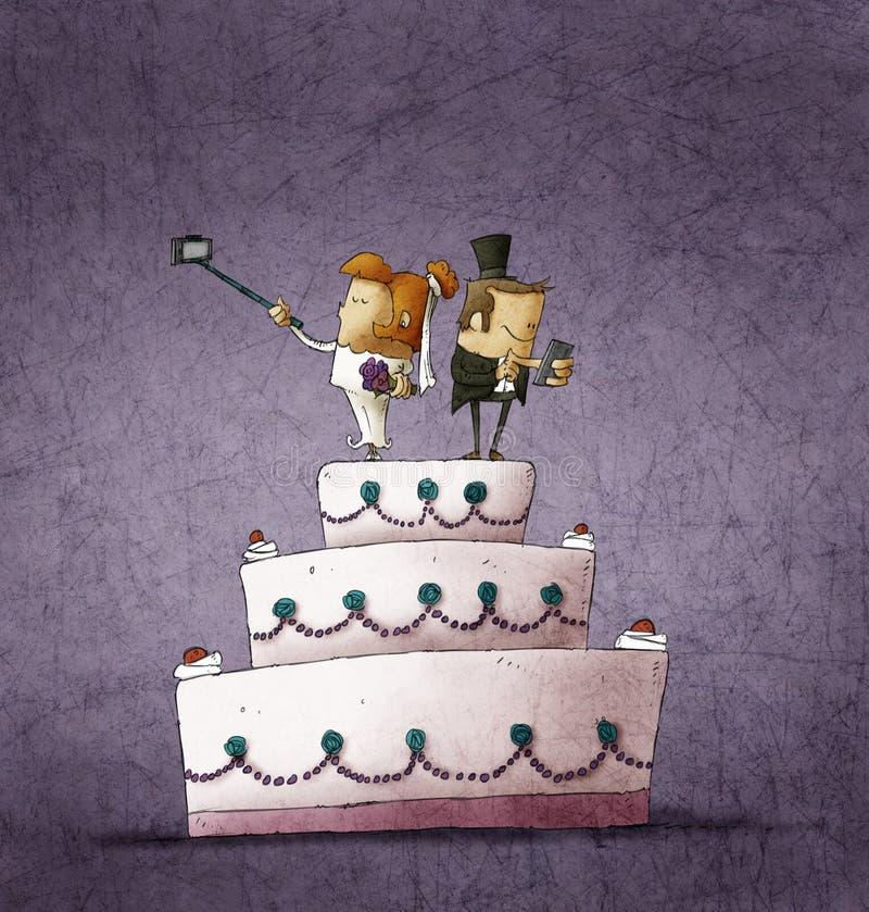 Humorous illustration of bride and bridegroom standing on wedding cake vector illustration