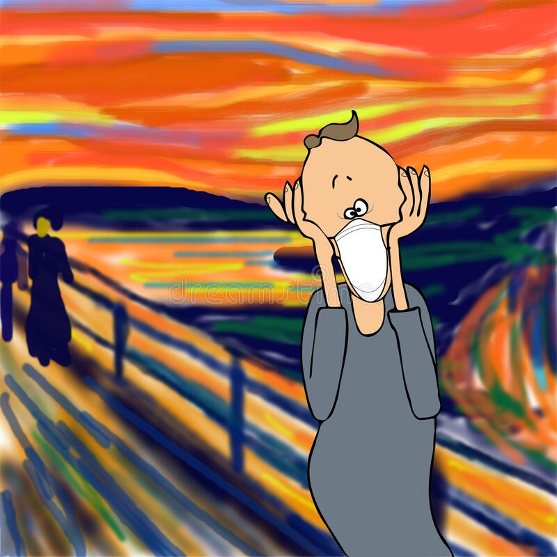 Free Humorous Parody Of The Scream Painting By Edvard Munch Wearing A Face Mask. Stock Photo - 190222850