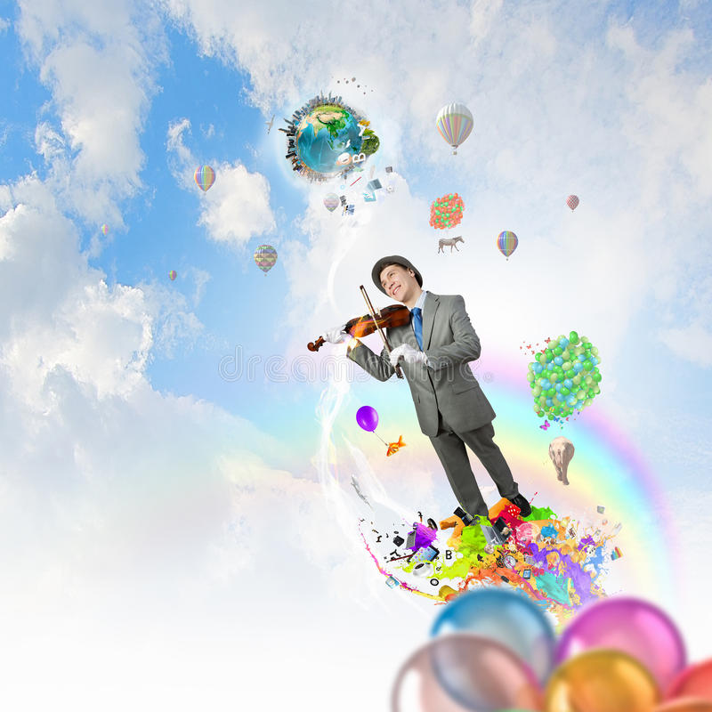 Humorous violin performer. Funny violin clown player in suit hat and white gloves. Elements of this image are furnished by NASA stock photography
