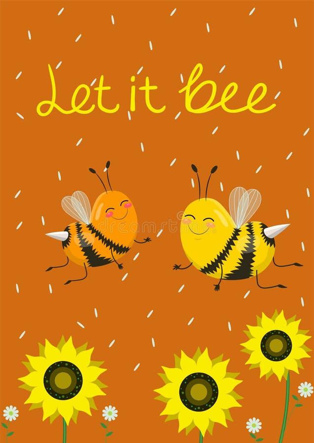 Humorystyczna karta lub druk na koszulce Dwa ?licznej pszczo?y na pomara?czowym tle r?wnie? zwr?ci? corel ilustracji wektora Podp royalty ilustracja