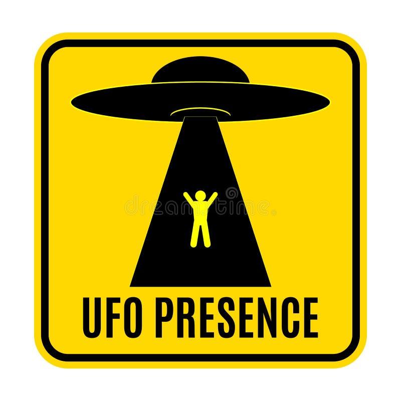 Humorystycznego niebezpieczeństwa drogowi znaki dla UFO, obcego uprowadzenia temat, wektorowa ilustracja Żółty drogowy znak z tek royalty ilustracja
