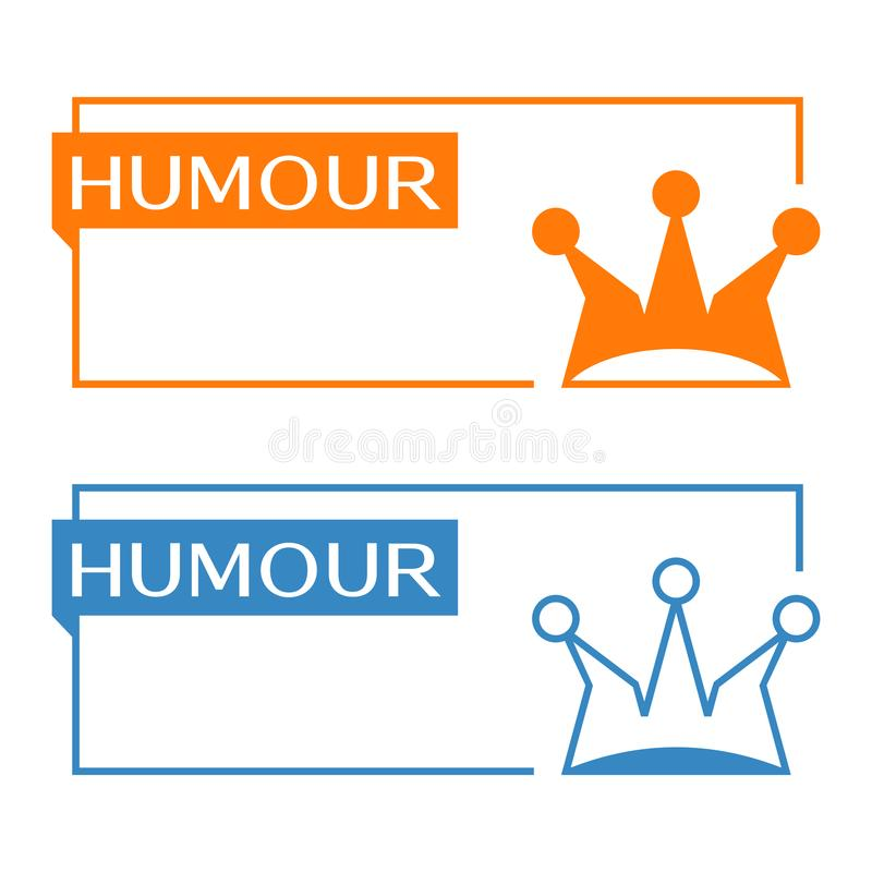 Humour banner with jester hat icon. Humour banner with jester cap icon royalty free illustration