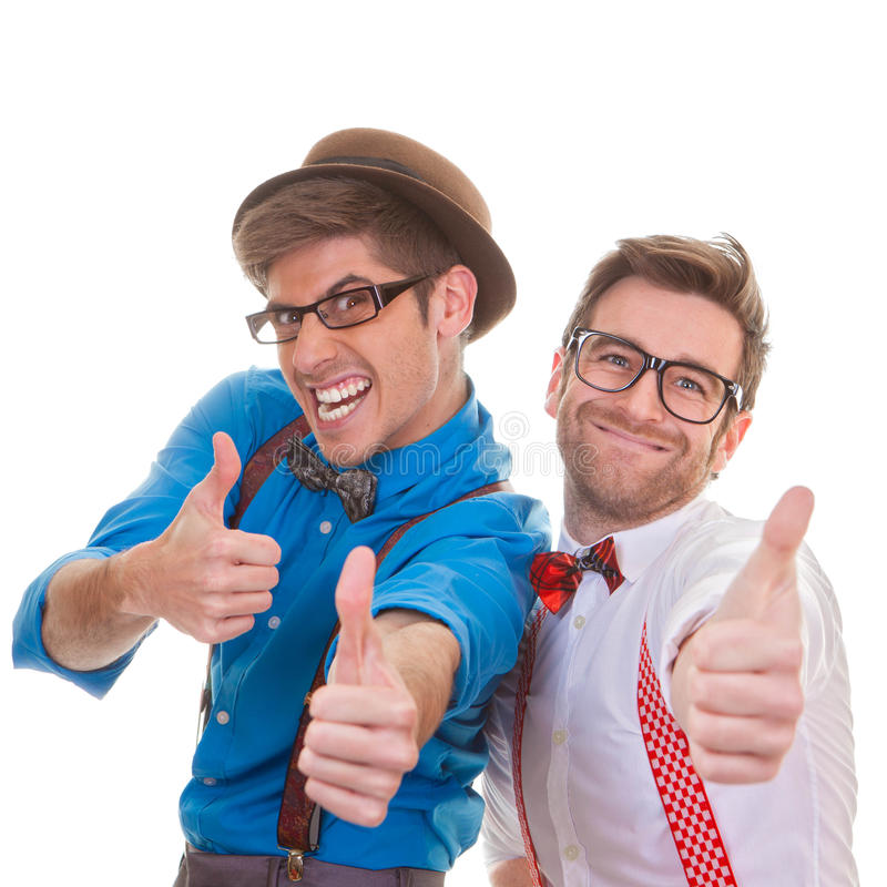 Humour, business men with thumbs up for success stock images