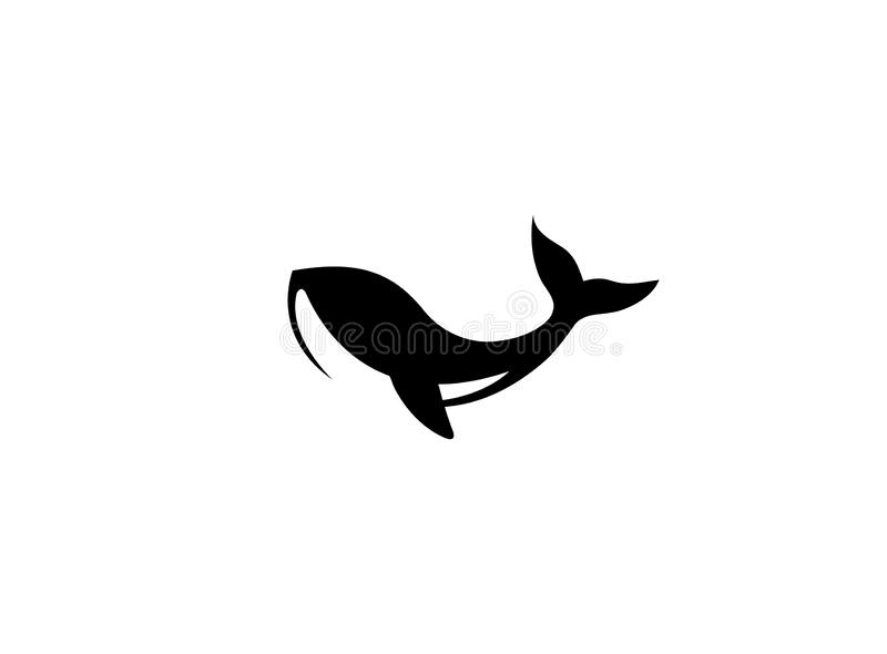 Humpback an ocean`s giant whale for logo. Esign illustration, marine life icon royalty free illustration