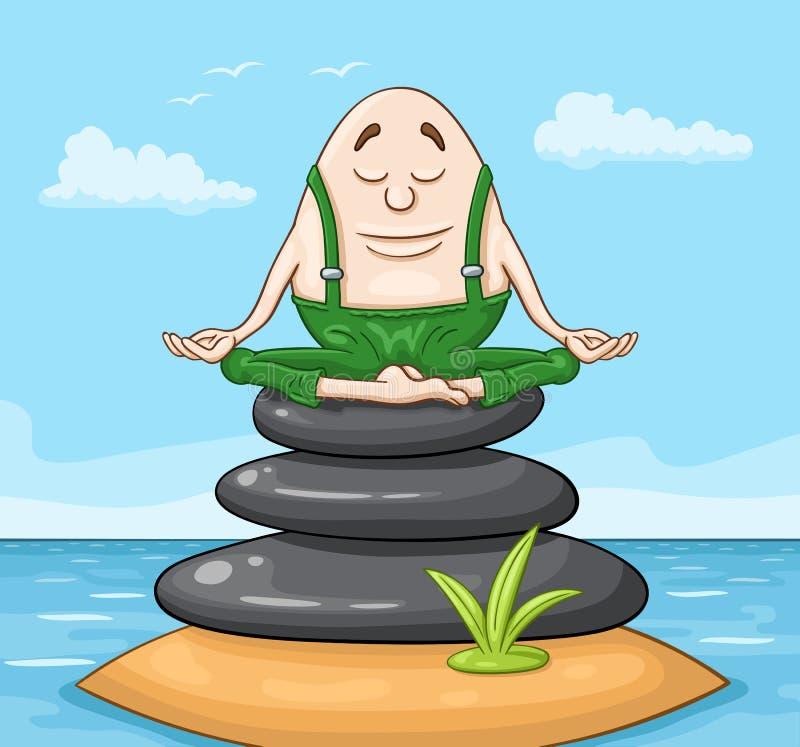 Humpty Dumpty egg sitting on zen stones stack vector illustration