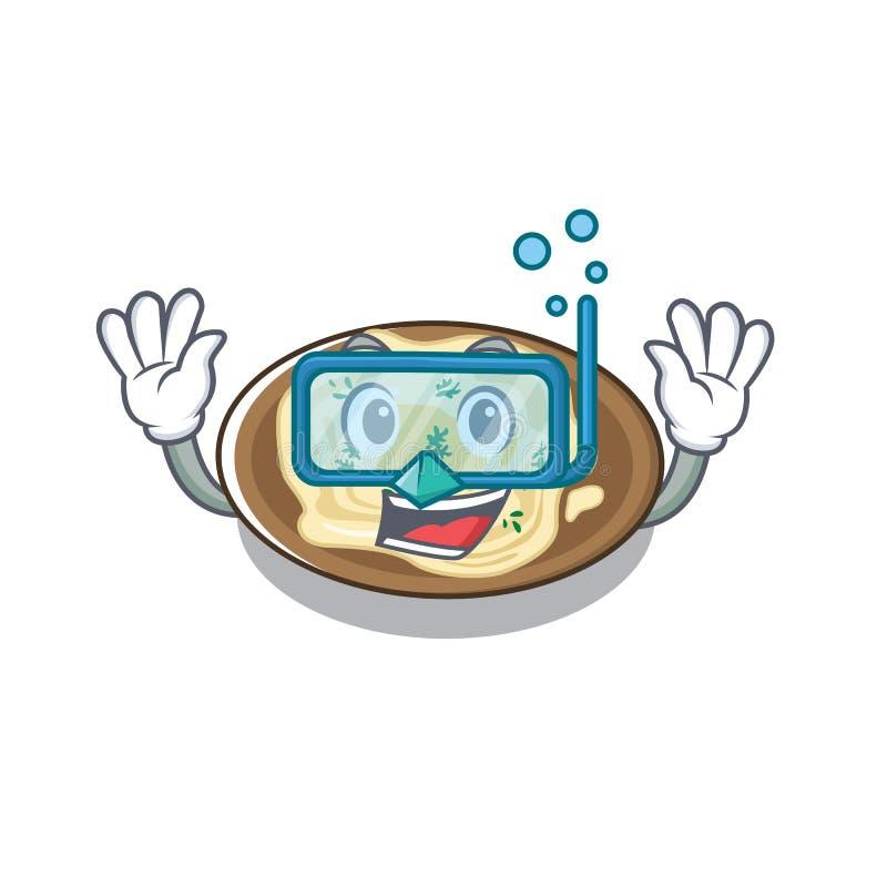 Humus de mergulho servido sobre mesa de cartoon de madeira ilustração royalty free