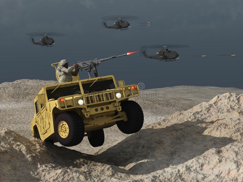 Humvee en helikopters in gevecht vector illustratie