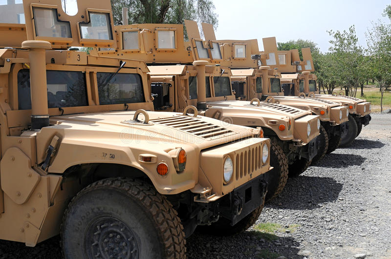 Humvee - US Military Hummer. There are four military Hummers stock images