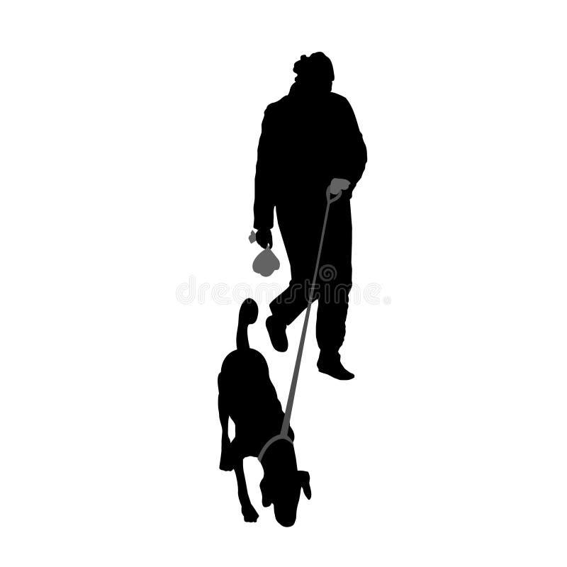 Hund auf einer Leine, gehend in den Park Schattenbilder lokalisiert auf Wei? vektor abbildung