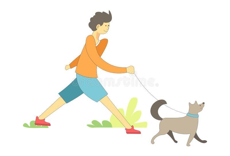 Hund auf Leine mit gehendem Haustiervektor des Eigentümerjungen lizenzfreie abbildung