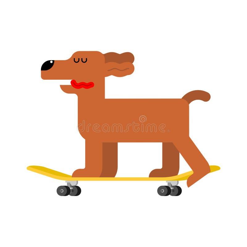 Hund auf Skateboard Haustier an Bord Jagdhund Skateboardfahrer stock abbildung