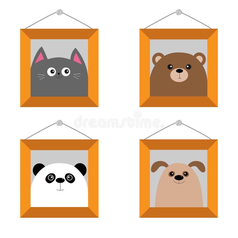 Hund, Bär, Katze, Pandakopf Bilderrahmen, der an der Wand hängt Netter Karikaturzeichensatz Tierbaby der Haustierwaldwild lebende vektor abbildung