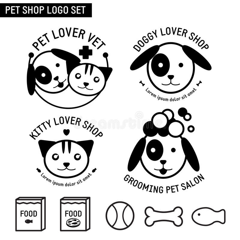 Hund Cat Pet Shop Logo Set vektor illustrationer