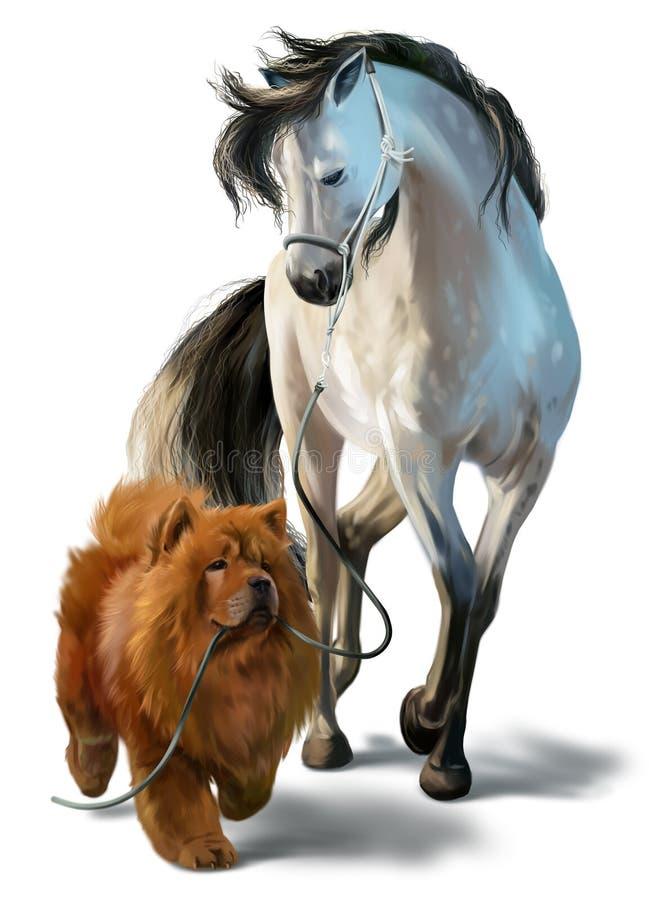 Hund Chow Chow och häst stock illustrationer