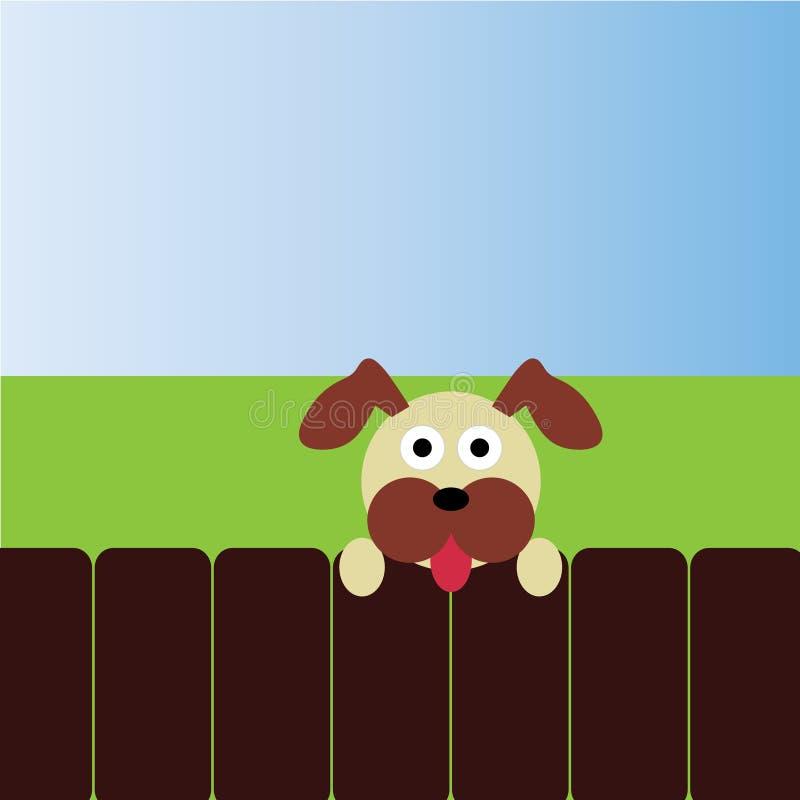 Hund, der über Zaun schaut vektor abbildung