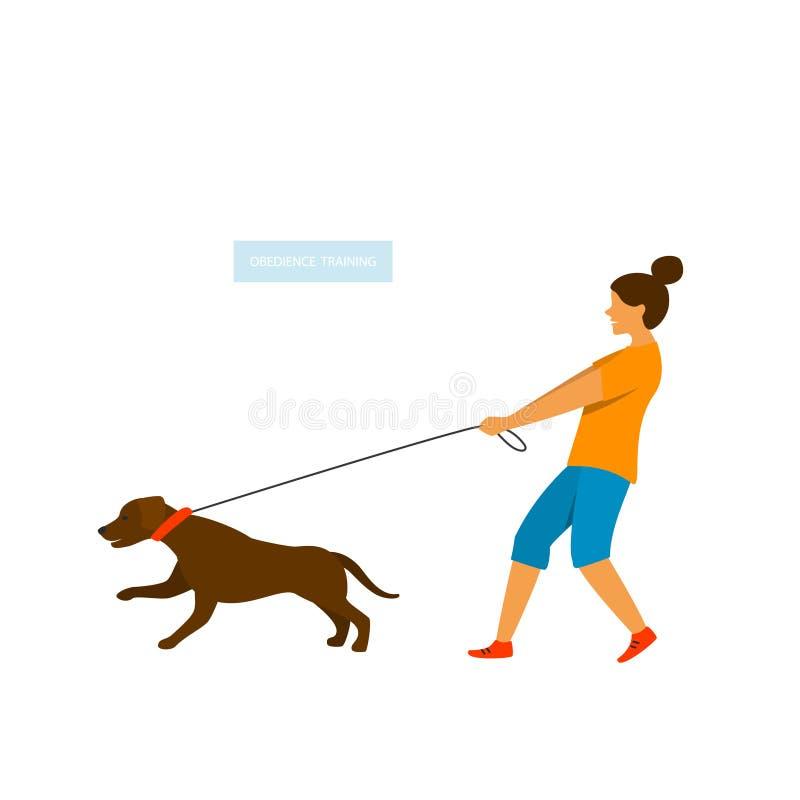Hund, der auf die Leine zieht stock abbildung