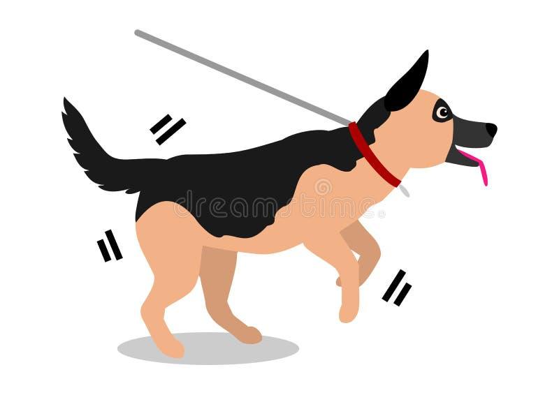 Hund, der auf Leine zieht lizenzfreie abbildung
