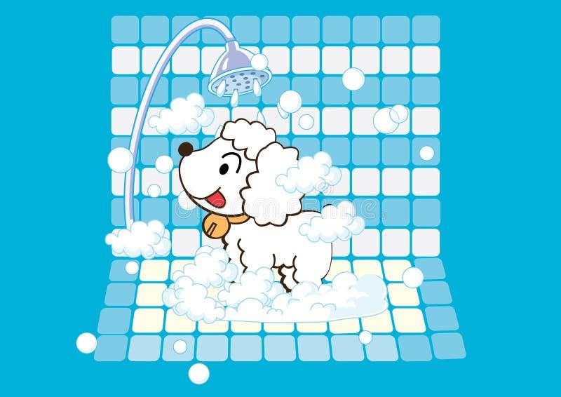 Hund, der ein Bad nimmt lizenzfreie abbildung