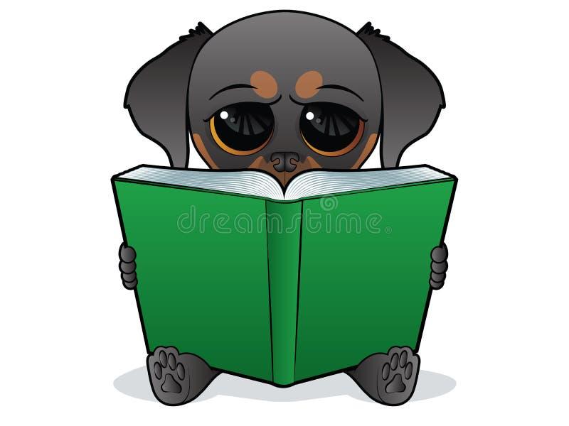 Hund, der ein Grünbuch liest vektor abbildung
