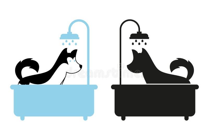 Hund, der eine Dusche im Bad nimmt lizenzfreie abbildung
