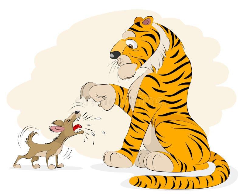 Hund, der an einem Tiger bellt stock abbildung