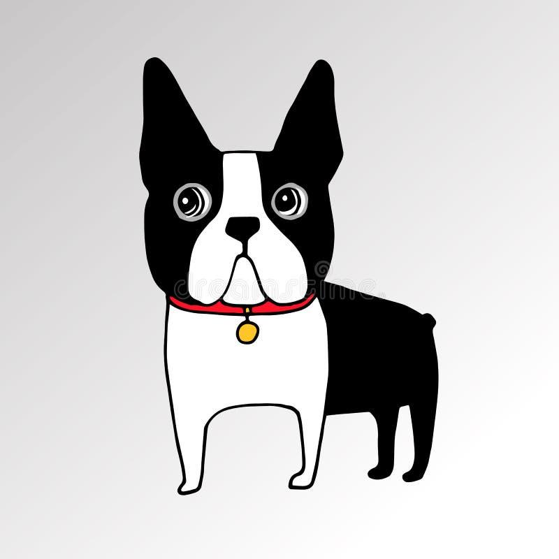 Hund der französischen Bulldogge auf Ohren eines hübschen Gesichtes der Leine vektor abbildung