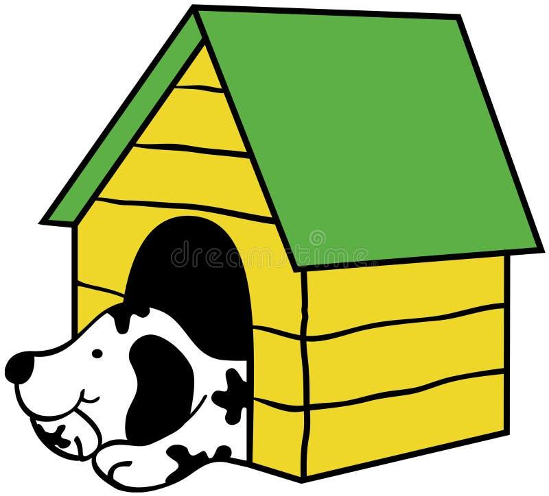 Hund in der Hundehütte lizenzfreie abbildung