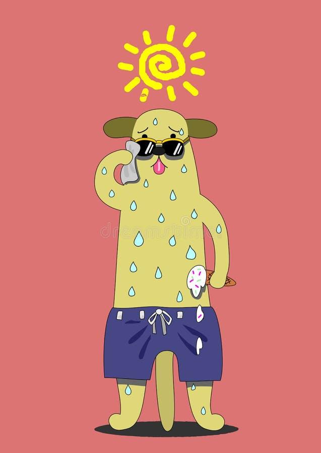 Hund, der unter der Sonne schwitzt lizenzfreie abbildung